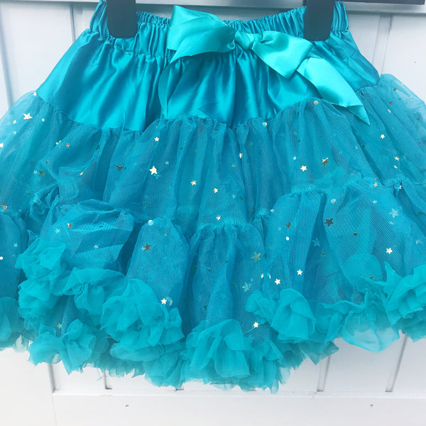 **NEW**  Teal Stars and Moons Pettiskirt & Satin Bow