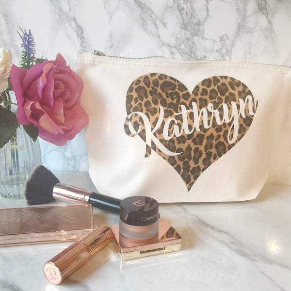Limited Edition - Leopard Print Personalised Make Up Toiletries Bag