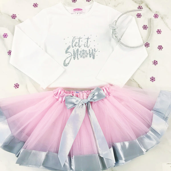 'Let it Snow' Silver Sparkle  T Shirt & Tutu GIFT SET