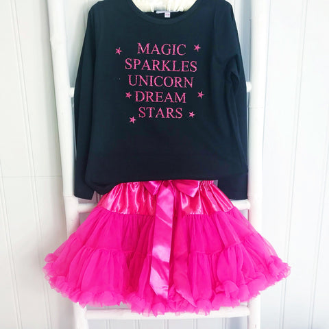 Girls Magical Sparkle & Glitter Word T Shirt  - Black Long Sleeve T-Shirt