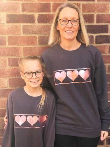 Mummy and Me Rose Gold LOVE HEART  Design GIFT SET  Long Sleeve Sweatshirts - Charcoal Grey or Black