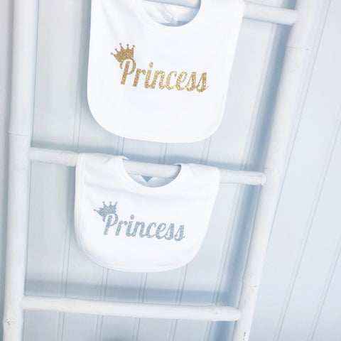 Princess Crown Cute Baby Bib Silver or Gold