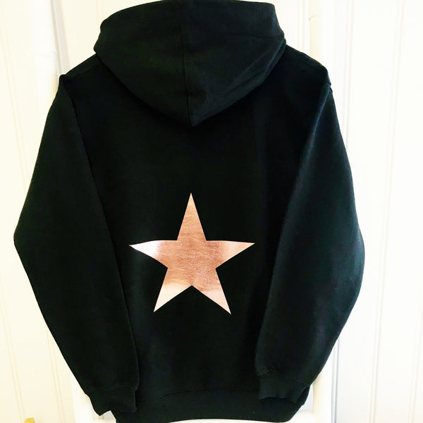 girls star hoodie rose gold, mummy and me hoodie, girls rose gold top, girls hoodie, heart hoodie