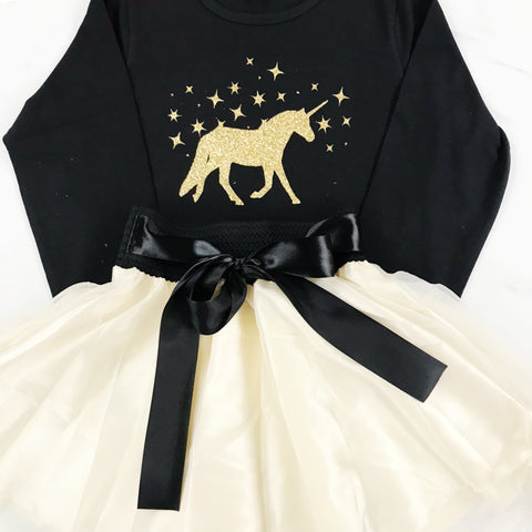 Party Skort & Glittery Unicorn Tshirt Black Long Sleeve Gift Set  (4 Colours)
