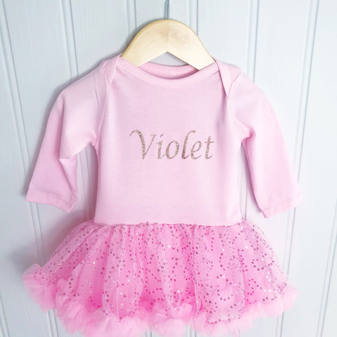 Personalised Sparkly Onesie Pettidress in Pink, White & Red