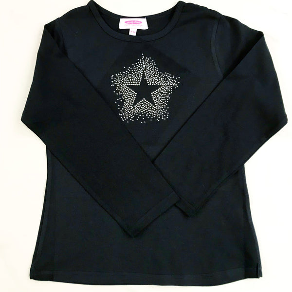 Starburst Constellation Diamante Black Long Sleeve T Shirt