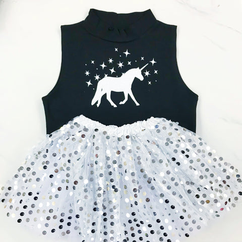 Disco Sparkle Tutu and Glittery Unicorn High Neck Sleeveless Top Gift Set  -  (Various Colours)