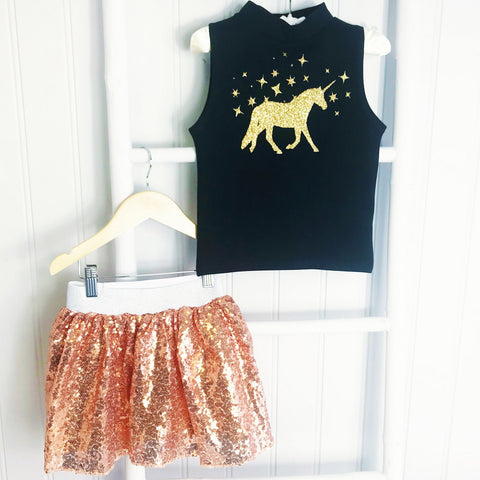 Gold Glittery Tutu and Unicorn High Neck Sleeveless Top Gift Set