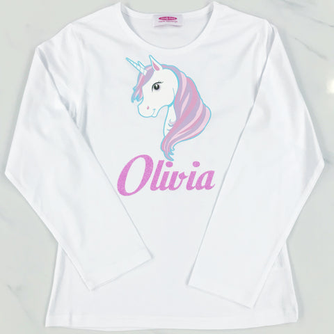 Personalised Unicorn T Shirt/Baby Grow- Long Sleeve