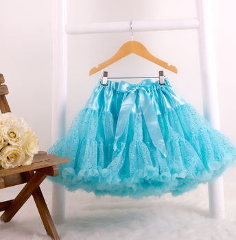 Ex Display Shimmer Aqua Pettiskirt Tutu & Satin Bow - 0-2 yrs