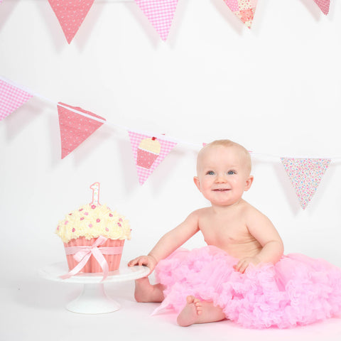Baby First Birthday Pettiskirt pink white ivory cream tutu
