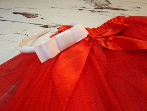 Christmas Red Ballet Tutu and Sweetie Headband Set