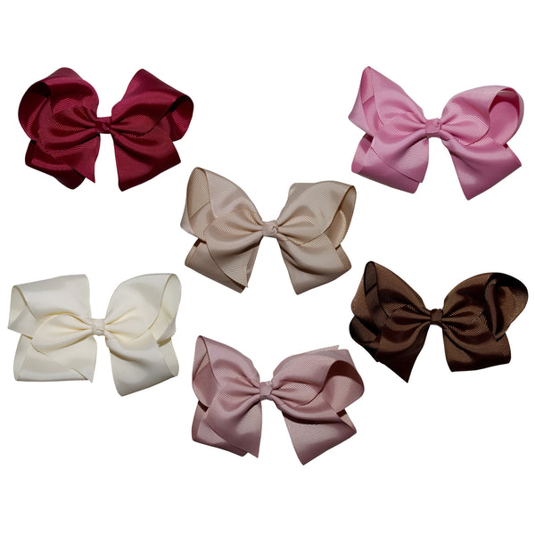 Gift Set of 6 Extra Large Boutique Hair Bows pink cream brown rose navy red white yellow orange green purple