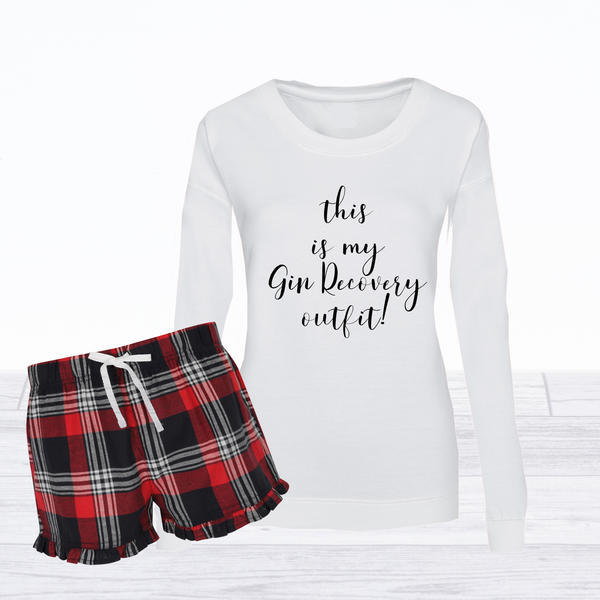 Ladies Weekend Recovery Prosecco & Gin Short Pyjamas with Sweatshirt Top