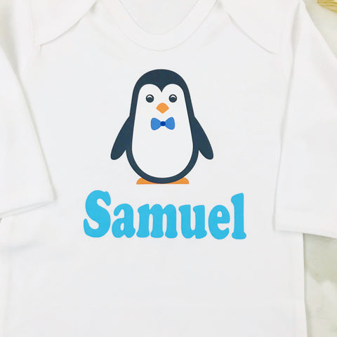 Boys Christmas Eve Personalised Percy Penguin Baby Romper Suit