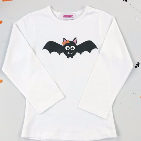 Girls Halloween Batty T shirt or Baby Grow - Personalisation Available