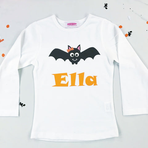 Girls Halloween Batty T shirt/onesie - Personalisation Available