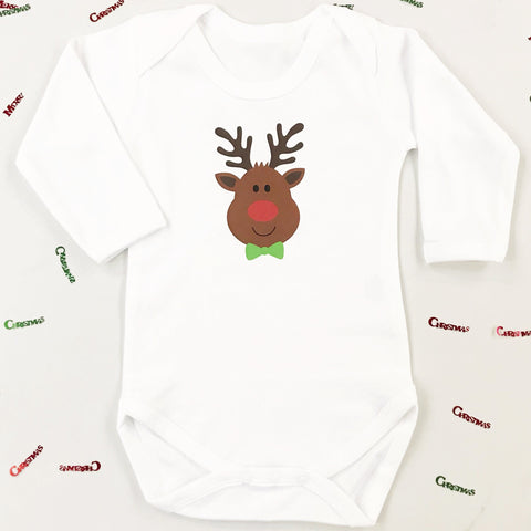 Personalised First Christmas Rudolph Baby Grow or T shirt for Boys