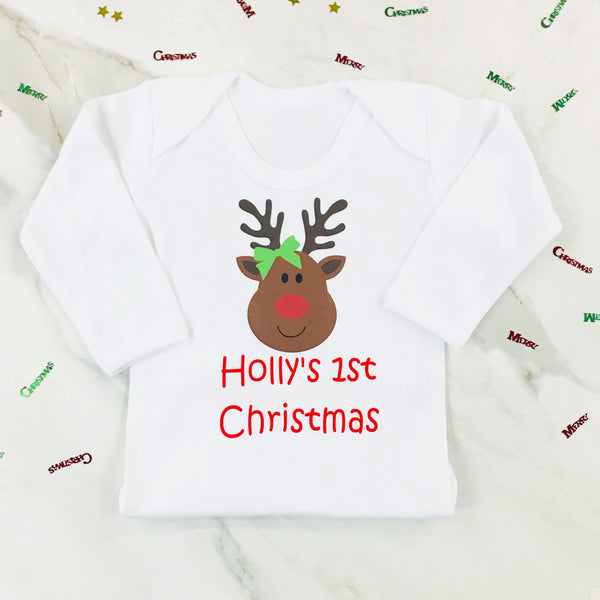 Personalised First Christmas Miss Rudolph Onesie or T Shirt for Girls