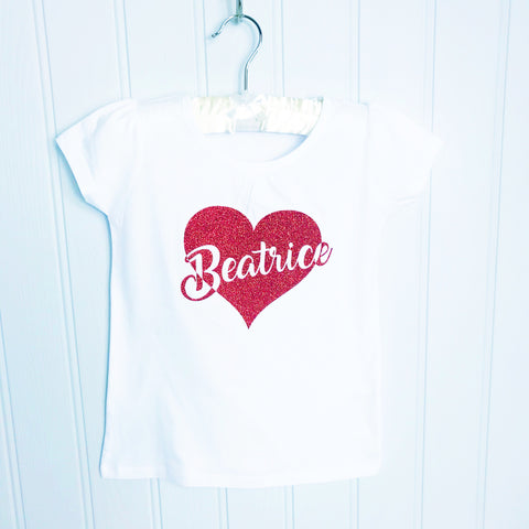 Valentine's Personalised Love Heart T Shirt