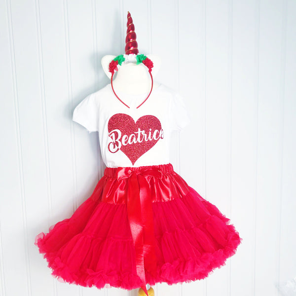 Valentines & Galentines Red Love Heart GIFT SET - Long Sleeve glitter personalised t shirt unicorn headband pettiskirt tutu petticoat red