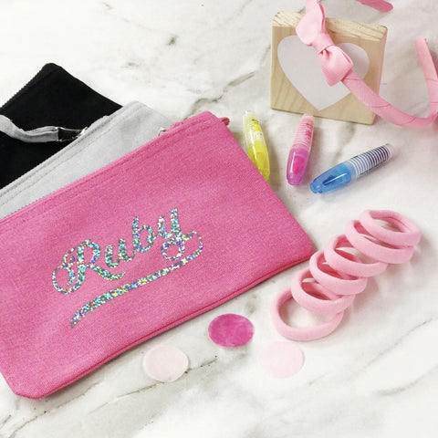 Back To School Personalised Pencil Case & Hair Bobbles Gift Set