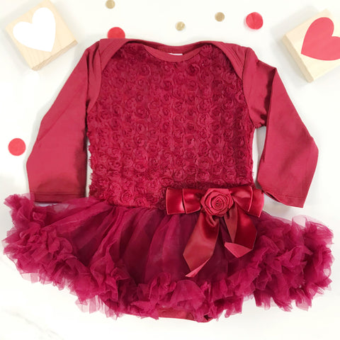 Rose Onesie Pettidress in Claret