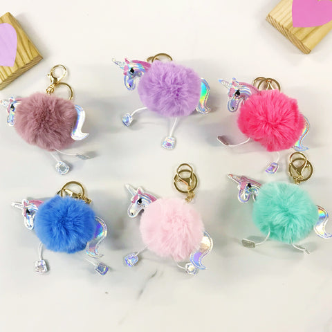 Unicorn Pompom Key Ring