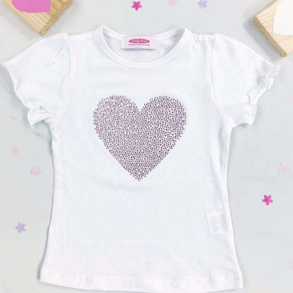 Sparkly Heart Diamante Short Sleeve White T Shirt