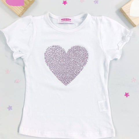 Ex Display / Ex Sample Sparkly Heart Diamante  White T Shirt