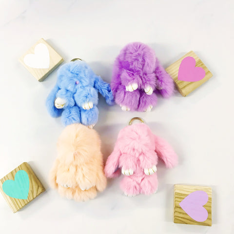 Cute Bunny Rabbit Pompom Key Ring