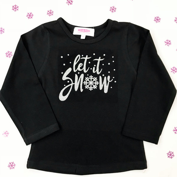 'Let it snow' Silver Sparkle Long Sleeve Black T Shirt