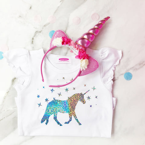 Girls Sparkly Holographic Unicorn T Shirt and Unicorn Headband GIFT SET - short or long sleeve
