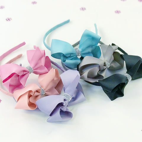 Girls Sparkly Centre Traditional Boutique Bow Headband (Various Colours)
