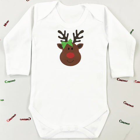Christmas Miss Rudolph Baby Grow or T Shirt for Girls