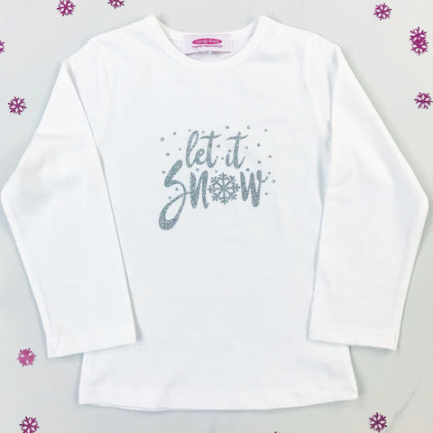 'Let it snow' Silver Sparkle Long Sleeve White T Shirt