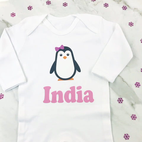 Girls Christmas Eve Personalised Penelope Penguin Baby Romper Suit