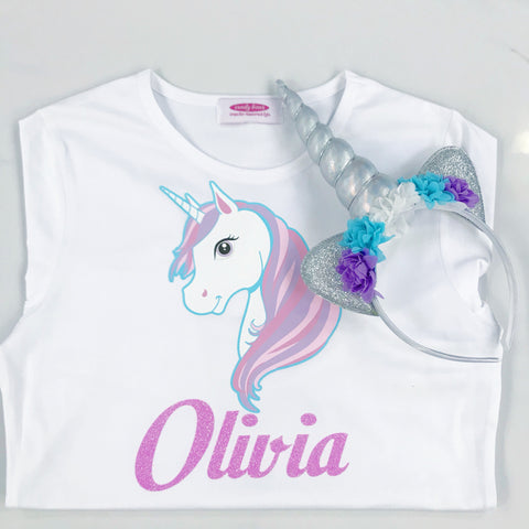 Personalised Sparkly Unicorn T Shirt or Baby Onesie and Unicorn Headband GIFT SET - Long/Short Sleeve