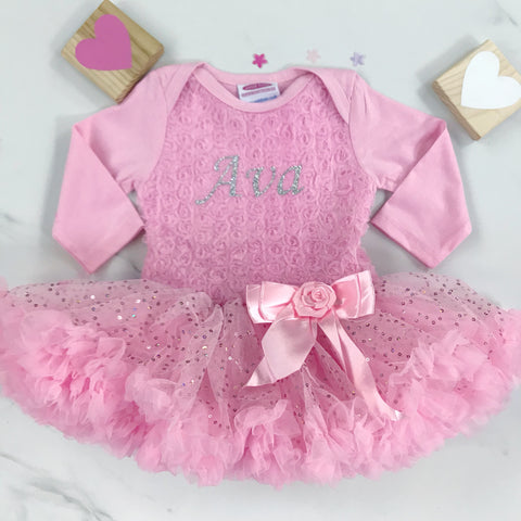 Rose Bodice Pettidress with Sparkly Skirt - Personalised -  Pink and White