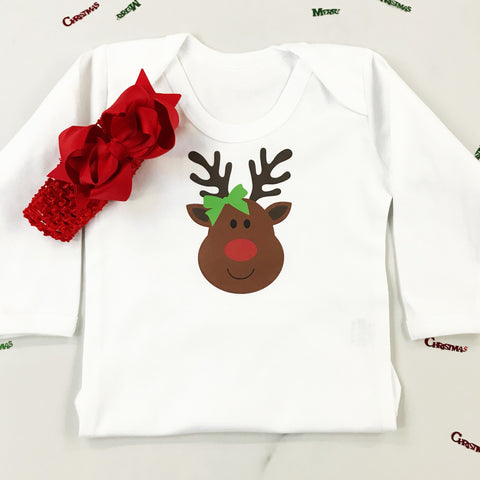 Christmas Miss Rudolph Onesie or T Shirt for Girls