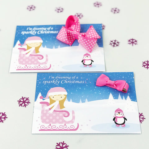 Sleigh Girl Christmas Card and Bow  - Stocking Filler
