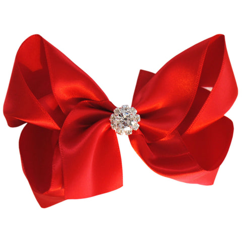 satin crystal hair bow