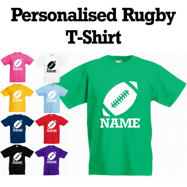 Personalised Boys and Girls Rugby T-Shirt With Name in a Variety of colours