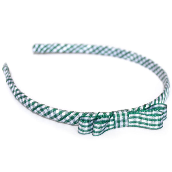 green headband teeny tiny gingham dots spots hairbows hair accessories school hair bows hair clip headband candy bows
