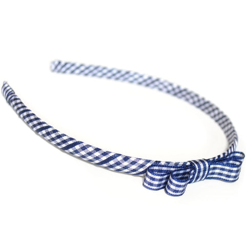 navy headband teeny tiny gingham dots spots hairbows hair accessories school hair bows hair clip headband candy bows