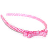 hot pink headband teeny tiny gingham dots spots hairbows hair accessories school hair bows hair clip headband candy bows