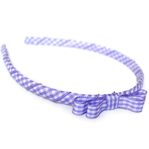 lilac purple headband teeny tiny gingham dots spots hairbows hair accessories school hair bows hair clip headband candy bows