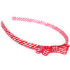 red headband teeny tiny gingham dots spots hairbows hair accessories school hair bows hair clip headband candy bows