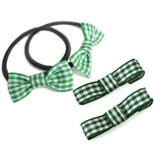 School Mini Bow Bobbles & Ribbon Hair Clips for School
