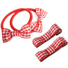 School Mini Bow Bobbles & Ribbon Hair Clips for School -In Gingham Ribbon